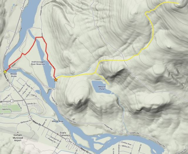 Follow the red route to reach the Mt. Hayes trailhead